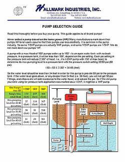 Submersible Pump, Deep Well, 4, 2HP, 230V, 35GPM/400' Head