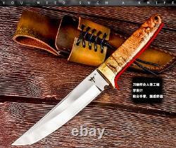 Tanto Knife Mini Katana Japanese Hunting Combat Tactical Fixed Blade Wood Handle