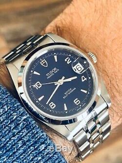 Tudor Full Set Rolex Prince Date Blue Dial Mens 34mm papers steel watch + Box
