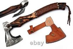 Viking Forged Axe Carbon Stainless Steel Throwing Camping Hatchet Bearded Axes