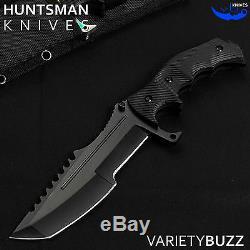 11 Tactique Bowie À Lame Fixe Csgo Huntsman Couteau Hunting Combat Militaire Noir