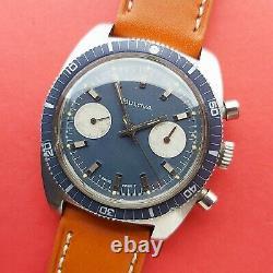 1973 Bulova Chronographe Montre Cadran Bleu +ensemble Complet 666ft Diable Ref @watchadoption
