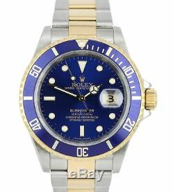 2004 Full Set Rolex Submariner Deux Tons Or Ss No Trous Bleu 40mm Montre 16613