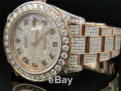 28 Ct New Mens Full Diamond Rose D'or Rolex Datejust Date De Seulement 2 II 45mm Montre