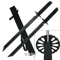 28 Dual Tang Tactique Plein Double Edge Ninja Sword Sharp Samurai Combat Machete