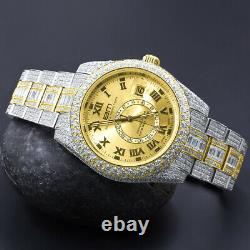 2 Tone Mens Full Stainless Steel Gold Finish Simulated Diamond Watch 42mm Withdate