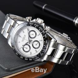 39mm Parnis Cristal Saphir Cadran Blanc Solide Plein Quartz Hommes Montre Chronographe