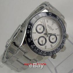 39mm Parnis Verre Saphir Cadran Blanc Solide Plein Quartz Hommes Montre Chronographe
