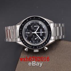 40mm Corgeut Multifonction Quartz Mens Watch Chronographe Pleine Bracelet En Acier