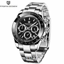 40mm Pagani Design Cadran Noir Complet Chronograph Homme Vk63 Quartz Wrist Watch