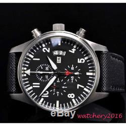 42mm Parnis Chronographe Cadran Noir Complet De La Fenêtre Date De Semaine En Acier Mens Watch