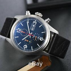 42mm Parnis Jour De La Semaine Cadran Noir Cas Solide Complète Mens Quartz Montre Chronographe