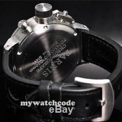 50 MM Parnis Marque Orange Grande Date Visage Pleine Chronographe Lefty Crown Mens Watch 36