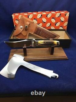 Case's Testé XX Axe & Knife Combo Set Stag With Leather Sheath Mint Pumpkin Box (en)