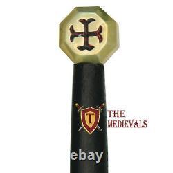 Chevaliers Templier Crusader Arming Sword Leather Scab Carring Belt Croix-rouge Pommel
