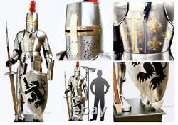 Costume Chevalier Médiéval De Full Body Armure Templier En Acier Inoxydable Armure De Combat