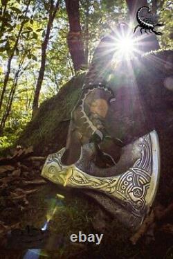 Custom Handmade Acier Inoxydable Axe Viking Lancer Bataille Camping Axe Gaine