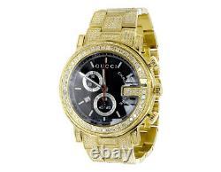 Custom Mens Gold Pvd 101 G Real 44 MM Full Diamond Gucci Ya101334 Montre 10.0 Ct
