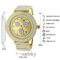 Full Stainless Steel Real Diamond Dial Gold Tone Finish Men's Watch Withdate 54mm
