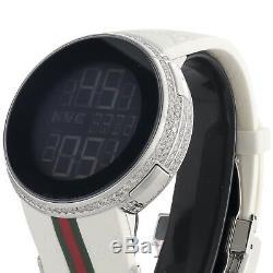 Gucci Diamant Blanc Montre Mens Boîtier Ya114214 5 Ligne Sur Mesure Numérique 3,5 Ct