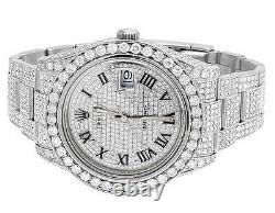 Homme Rolex Datejust II 41mm 116300 Roman Dial Full Iced Diamond Watch 22.75 Ct