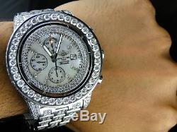 Hommes Sur Mesure Breitling Avenger Super Full Diamond Montre 32 Ct