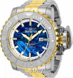 Invicta 70mm Full Sea Hunter 2 Tone Automatic Diamond Accent Blue Abalone Watch