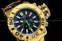 Invicta 70mm Full Sea Hunter High Poli 18k Gold Plaqué Swiss Blue Dial Watch