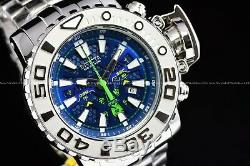 Invicta 70mm Pleine Mer Hunter Poli En Argent Glace Berg Suisse Cadran Bleu
