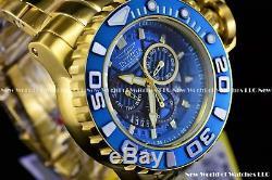 Invicta Hommes 70mm Pleine Mer Hunter III Bleu Mouvement Suisse Plaqué Or 24k Montre