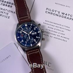 Iwc Pilot Chronographe Petit Prince Cadran Bleu Iw377714 Ensemble Complet 2017 43mm