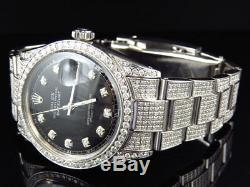 La Pleine Iced Mens Rolex Oyster Datejust 36 MM En Acier Inoxydable Diamond Watch 8.5 Ct