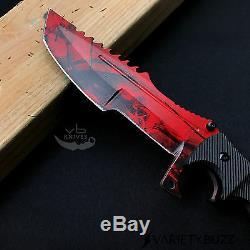 Lame Fixe Huntsman Couteaux Survie Tactique De Chasse Bowie Couteau Rouge Doppler