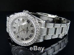 Mens En Acier Inoxydable Rolex Oyster Datejust En Acier 38 MM Full Diamond Montre 10 Ct