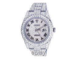 Mens Rolex Datejust II 116300 41mm S. Steel Diamond Watch Pleine Iced 31,75 Ct