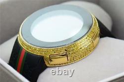 New Mens Custom Yellow Full I Gucci Digital Ya114207 Canary Diamond Watch 2.5 Ct