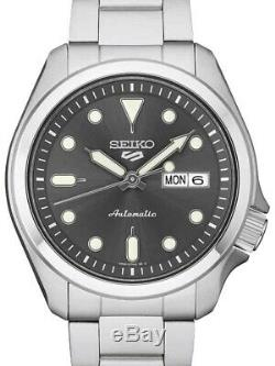 New Seiko 5 En Acier Inoxydable Srpe51k1 Automatique Pleine 40mm Cadran Gris 24 Rubis