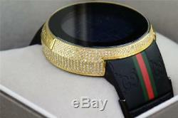 Nouveau Hommes Personnalisé Jaune Pleine I-gucci Numérique Ya114207 Blanc Diamond Watch 2.5ct