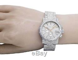 Nouveau Plein Hommes 44mm Gucci 101 G-chrono Cadran Argenté Diamond Watch Ya101201 12,5 Ct
