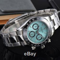 Nouvelle Arrivée 39mm Parnis Cadran Bleu Quartz Mens Watch Cas Solide Pleine Chronographe