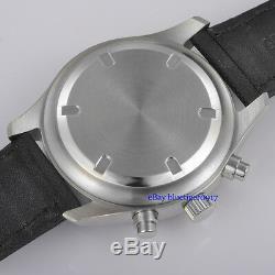 Parnis 42mm Hommes Cadran Noir Jour Mouvement Quartz Pleine Chronographe Watch Date
