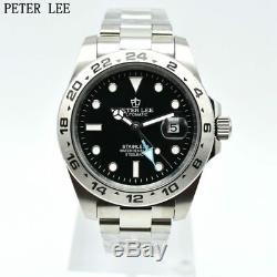 Peter Lee Automatique Montre-bracelet Mécanique Homme Date Wristwatch Pleine Acier