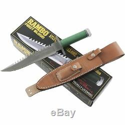 Rambo First Blood Stallone Signature Od Vert Sawback Bowie À Lame Fixe Couteau