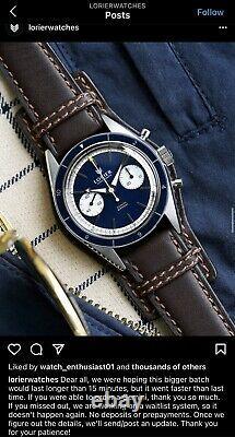 Rare Blue Lorier Gemini Manuel Wind Stainless Steel Watch, Full Kit