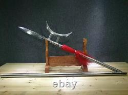 Rare Chinois Wushu Spear Halberd Sword Sharp Forge Folded Steel Spearhead Fighti