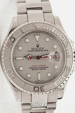 Rare Full Size Mens Platinum Ss Rolex Yachtmaster Box Wty 1 Yr