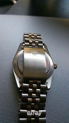 Rare Tudor Rolex Linen Dial Automatique Deux Tons Original Full Bracelet