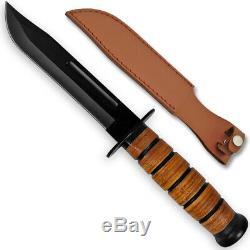 Reproduction Seconde Guerre Mondiale Combat Usmc Kabar-style De Combat Couteau Avec Gaine En Cuir