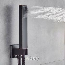 Robinet De Douche Noir Combo Set Wall Mount 16 Pouces Rainfall Shower System Mixer Uk