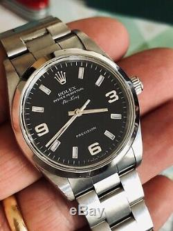 Rolex 14000m Air King Cadran Noir Mens Explorer 2002 Full Set Box Papers